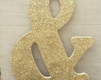 """18"""" Decorative Gold Glitter & Ampersand Wall Letter, Wedding Engagement, Photo Prop"""
