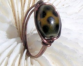 Antique Copper Ring, Wire Wrapped Ring, Spotted Glass, Wire Ring, Statement Ring, Jewelry