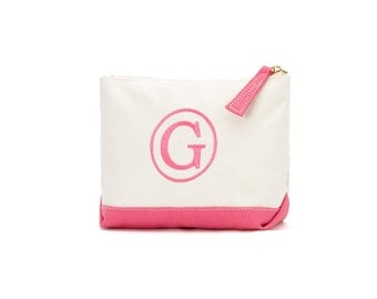 Embroidered Canvas Cosmetic/Makeup Bag (Monogram)