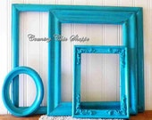 Caribbean Blue Frame Set of 4 Distressed Wall Gallery Picture Frame Collection, Empty Frame Collection, Vintage Upcycled/Recycled Wall Decor
