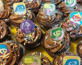 24 Disney Pixar's INSIDE OUT cupcake cake topper rings party favors goodie bags birthday Joy Anger Disgust Fear Sadness Bing Bong Soo cute!
