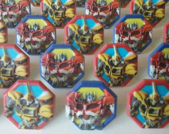 24 TRANSFORMERS cupcake cake topper rings party favors goodie bags birthday Bumblebee and Optimus Prime Discovery Kids 80's retro movie