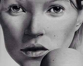 Model Kate Moss Fine Art Print from original drawing