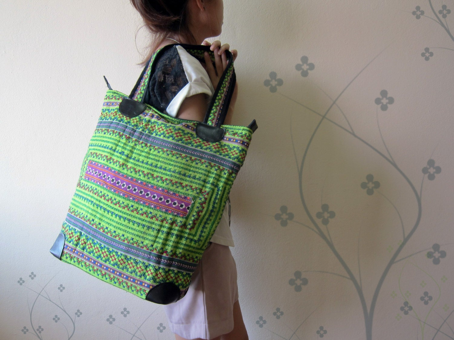 Green hmong vietnam large bag tote bags handmade embroidered