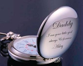 Personalized Silver Stainless Steel Pocket Watch Engraved for Free,  For Weddings, Best Men, Groomsmen, Father of the Bride, Father of Groom