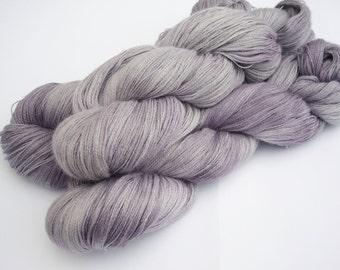 Hand dyed yarn - lace weight Baby Alpaca, silk and cashmere- silver lavender