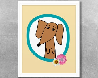 Red Dachshund With Flowers, Printable Digital Download, Art, Digital Art, Dog, Dog Art, Wiener Dog, Doxie, Doxie art, Animal, Pet