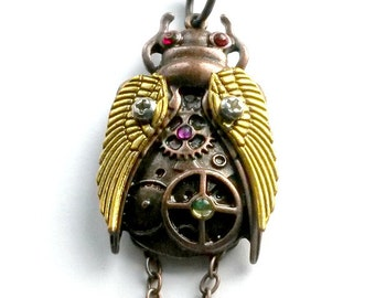 Locust Necklace Copper Steampunk Cicada Pendant Insect Handmade jewelry Gift