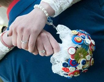 Retro Button Bouquet - Superhero Wedding