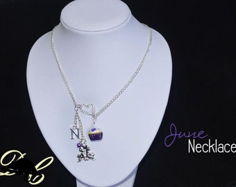 Your JUNE Birthday Necklace - Cupcake with candle, birthstone,letter charm and zodiac charm - Personalised (In Stock)