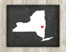 New York Printable, Chalkboard New York State Print, 8x10, Instant Download, Heart New York Sign, New York Home Decor Poster, State Wall Art