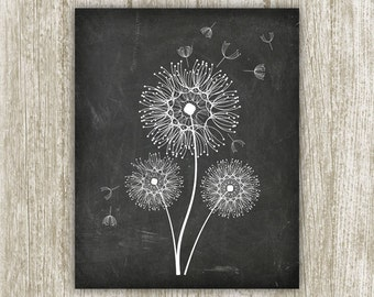 Dandelion Wall Art Printable, 8x10, Instant Download, Chalkboard Wall Decor, Dandelion Art Print, Home Decor, Dandelion Print