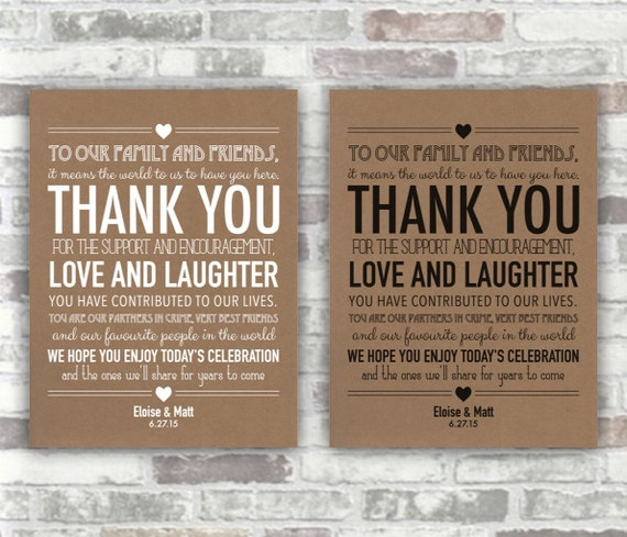 PRINTABLE - Wedding Thank You Sign - White with Kraft Brown Recycled Paper Effect Background - Place Setting Decor - Rustic Theme 6x8
