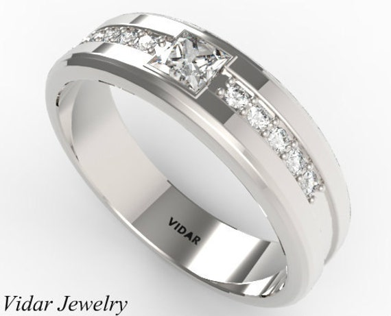 Mens Wedding Band Unique Princess Cut Diamond in 14K White