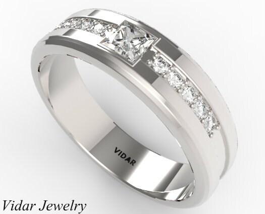 Mens Wedding Band Unique Princess Cut Diamond In 14K White