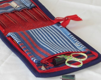 """SALE 30% off 10 pair capacity Interchangeable knitting needle and crochet hook keeper case for needles 3.5"""" to 6.25"""" in length to size 10.5"""