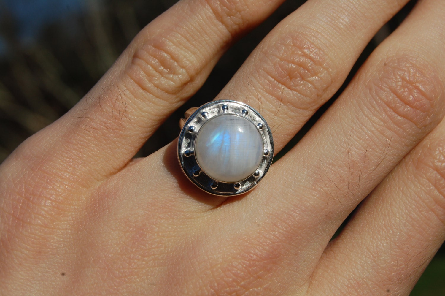 Natural Moonstone Ring Size 7 from India by ThirdEyeTreasures