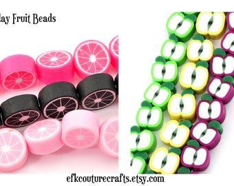 Fruit Clay Beads Citrus Limes or Apples Bright Summer Colors (30)