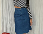 1970's St Michael A-Line Denim Skirt