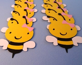 Set of 10 Bumble Bees with Pink Bow
