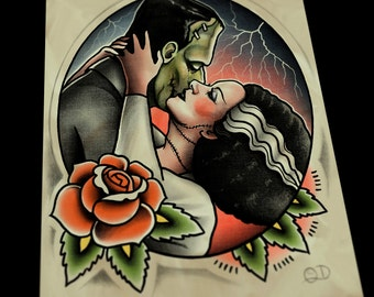Frankenstein and Bride Kiss Art Print