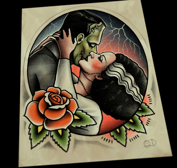 Frankenstein Bride Kiss Tattoo Flash Art Print