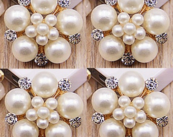 4 Flat Back Rhinestone Button, Pearl Button, Metal Button Embellishment(22 mm) QS-113