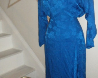 silk studio royal blue silk  dress 80s does  40s  vintage  80s does 30s 40s style