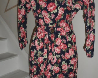 johnathan martin 100% rayon rose dress 80s does 30s 40s class and style  garden tea party