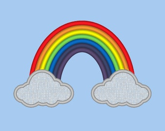 5 SIZES!! Rainbow Clouds Embroidery Design