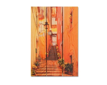 16x24 Portugal Stairway, Wall Hanging Home Decor, Inside Outside Art, Wooden Decor, Colorful Backyard Art (AA1624)