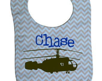 Chevron helicopter  personalized  baby bib, baby shower gift- -B027