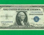 1935 A Uncirculated One Dollar (1.00) Authentic Blue Seal Silver Certificate