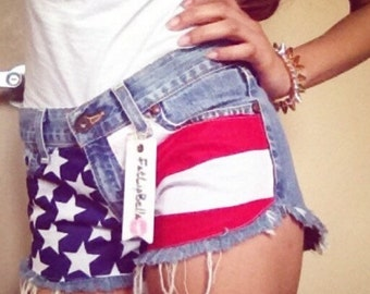 Low rise American Flag shorts with studs