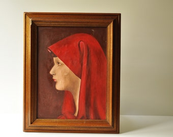 Midcentury Framed Oil On Canvas Painting - Girl In Red - Unknown Artist