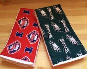 Philadelphia Sports Team Combo - Phillies and Eagles - Cotton Burp Cloth Set of Two