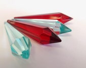 4 Red & Antique Green (Light Aqua) Icicle Chandelier Crystal Prisms 80mm Shabby Chic Hollywood Regency