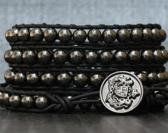 wrap bracelet- hematite and on black leather- mens biker gothic boho rocker bracelet