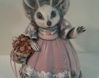Ceramic Mouse Wearing Pink Dress and Carrying Basket of Flowers