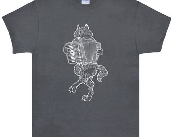 Wolf Playing Accordion T Shirt.Men's Gildan Ultra Cotton Adult Tee.Accordion Shirt.Wolf Tee.Wolf Clothing.Wolf Gifts.Music Shirt.White Print