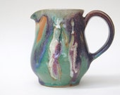 12 oz Creamer, Green Purple Small  Pitcher, two people Pottery Ceramic Pitcher, Pottery creamer pitcher, handmade pottery pitcher.