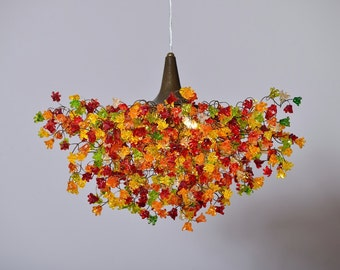 Ceiling lamp with warm color jumping flowers, Decorative Lighting Creations for dinning room or bedroom.