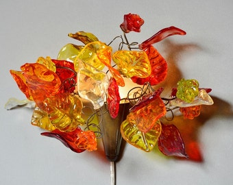 wall sconce plug in Bouquet lamp with flowers and leaves at warm color, for bedroom side lighting