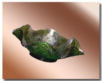 Antique Millersburg Carnival Glass Ruffled Bowl