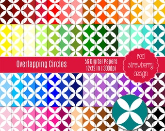 75% OFF Sale - 56 Digital Papers - Overlapping Circles - Instant Download - JPG 12x12 (DP149)