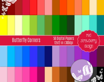 75% OFF Sale - 56 Digital Papers - Butterfly Corners - Instant Download - JPG 12x12 (DP265)