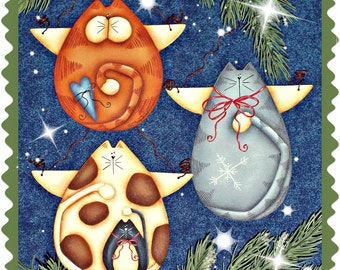 CC156 Prim Cat Angel Ornaments - Painting E Pattern by Cyndi Combs