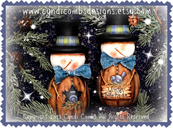 CC120 - Wynter Tweetings Snowman Candlesticks - Painting E Pattern by Cyndi Combs