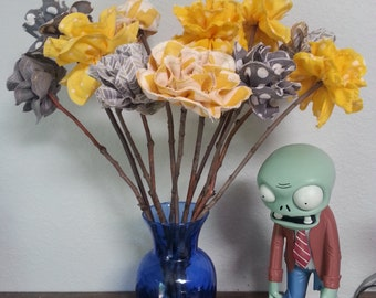 Dozen Grey & Yellow Upcycled Long Stemmed Fabric Roses