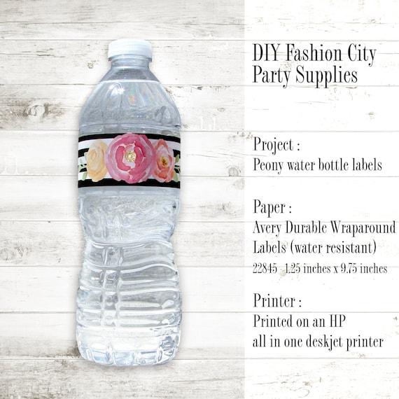 water bottle labels template avery - peony water bottle labels black stripes gold diamond